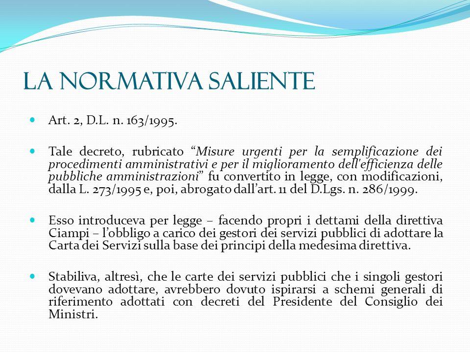 La normativa saliente Art. 2, D.L. n. 163/1995. Tale decreto, rubricato Misure urgenti per la semplificazione dei procedimenti amministrativi e per il