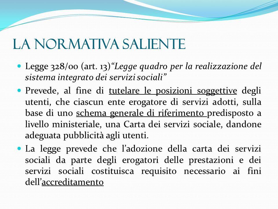 Legge 328/00 (art. 13)Legge quadro per la realizzazione del sistema integrato dei servizi sociali Prevede, al fine di tutelare le posizioni soggettive