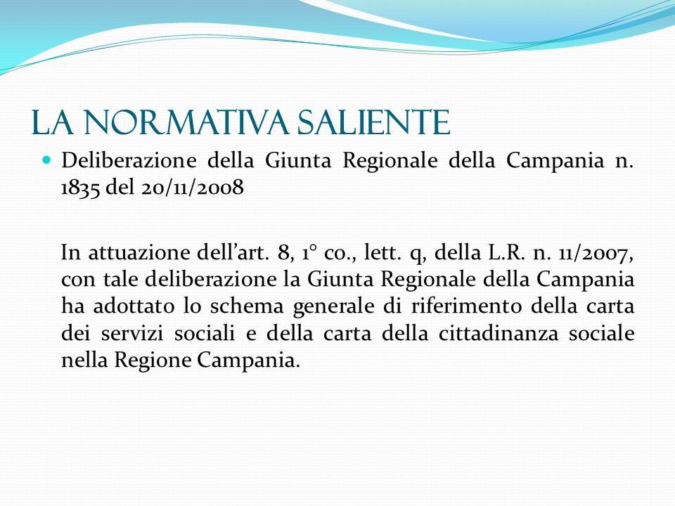 Deliberazione della Giunta Regionale della Campania n. 1835 del 20/11/2008 In attuazione dellart. 8, 1° co., lett. q, della L.R. n. 11/2007, con tale