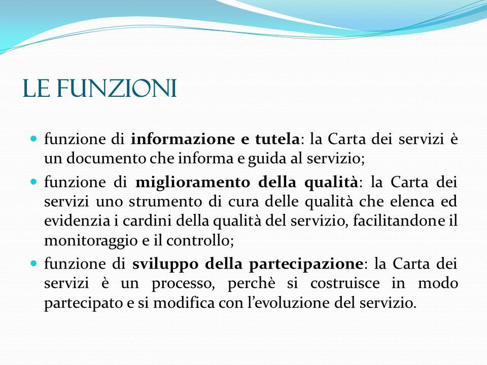 funzione di informazione e tutela: la Carta dei servizi è un documento che informa e guida al servizio; funzione di miglioramento della qualità: la Ca