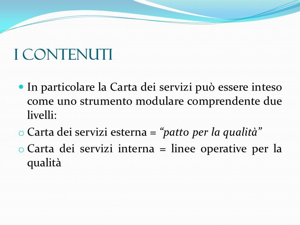 In particolare la Carta dei servizi può essere inteso come uno strumento modulare comprendente due livelli: o Carta dei servizi esterna = patto per la
