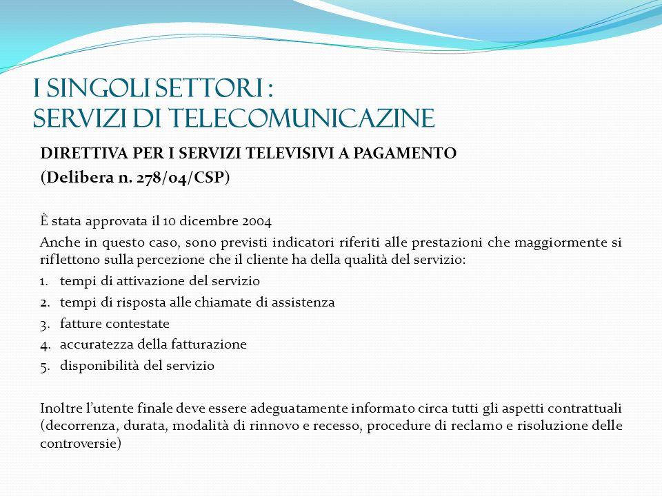 I SINGOLI SETTORI : SERVIZI DI TELECOMUNICAZINE DIRETTIVA PER I SERVIZI TELEVISIVI A PAGAMENTO (Delibera n. 278/04/CSP) È stata approvata il 10 dicemb