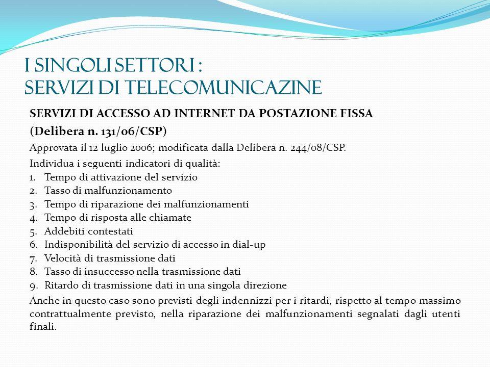 I SINGOLI SETTORI : SERVIZI DI TELECOMUNICAZINE SERVIZI DI ACCESSO AD INTERNET DA POSTAZIONE FISSA (Delibera n. 131/06/CSP) Approvata il 12 luglio 200