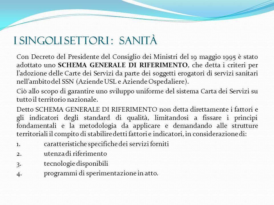 I SINGOLI SETTORI : SANITà Con Decreto del Presidente del Consiglio dei Ministri del 19 maggio 1995 è stato adottato uno SCHEMA GENERALE DI RIFERIMENT