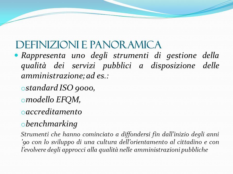 Rappresenta uno degli strumenti di gestione della qualità dei servizi pubblici a disposizione delle amministrazione; ad es.: o standard ISO 9000, o mo