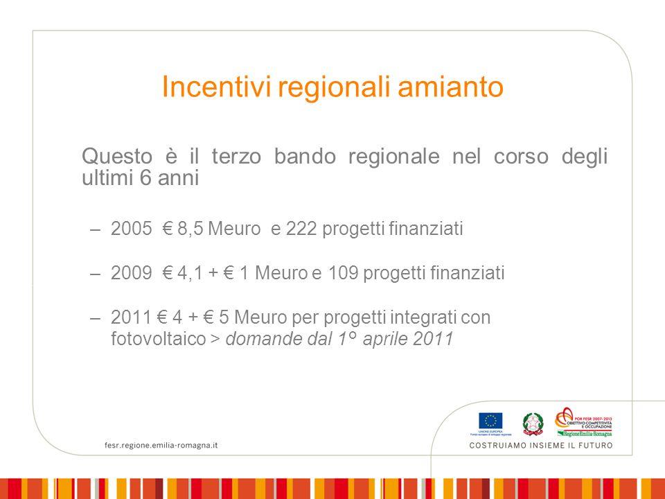 Incentivi regionali amianto Questo è il terzo bando regionale nel corso degli ultimi 6 anni –2005 8,5 Meuro e 222 progetti finanziati –2009 4,1 + 1 Meuro e 109 progetti finanziati –2011 4 + 5 Meuro per progetti integrati con fotovoltaico > domande dal 1° aprile 2011