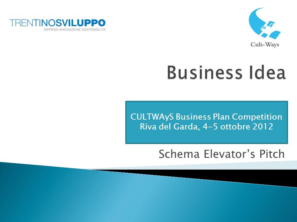 Schema Elevators Pitch CULTWAyS Business Plan Competition Riva del Garda, 4-5 ottobre 2012