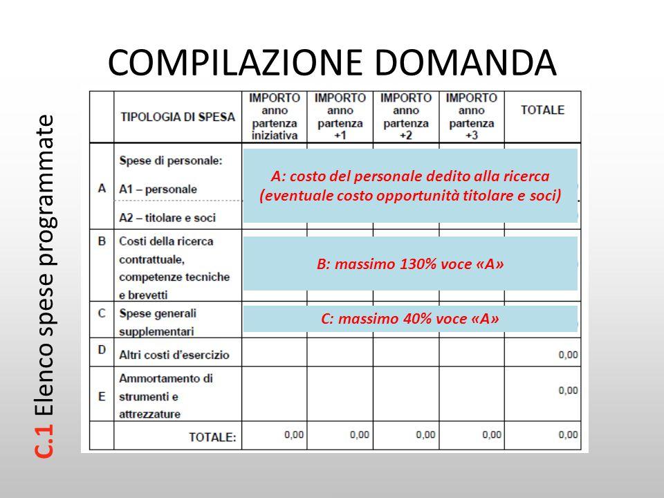 COMPILAZIONE DOMANDA C.1 Elenco spese programmate B: massimo 130% voce «A» C: massimo 40% voce «A» A: costo del personale dedito alla ricerca (eventua