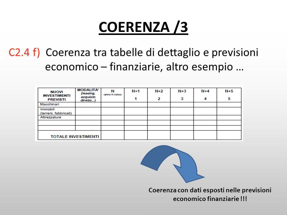 COERENZA /3 C2.4 f) Coerenza tra tabelle di dettaglio e previsioni economico – finanziarie, altro esempio … Coerenza con dati esposti nelle previsioni