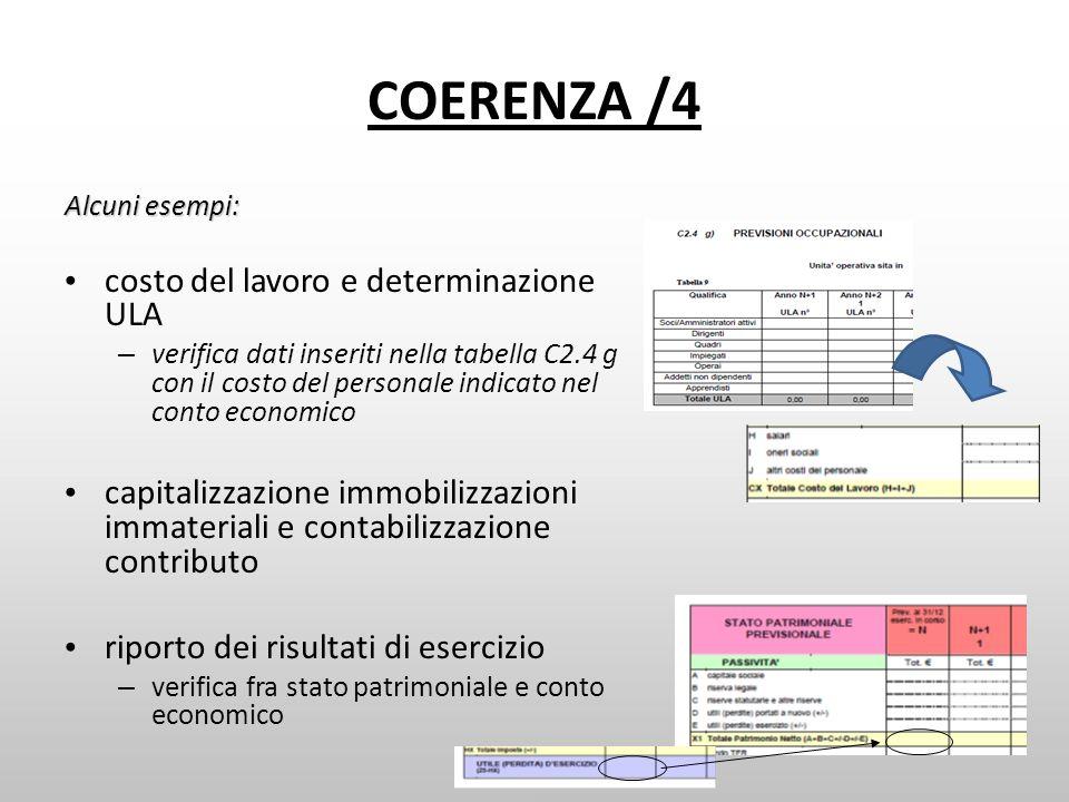 COERENZA /4 Alcuni esempi: costo del lavoro e determinazione ULA – verifica dati inseriti nella tabella C2.4 g con il costo del personale indicato nel