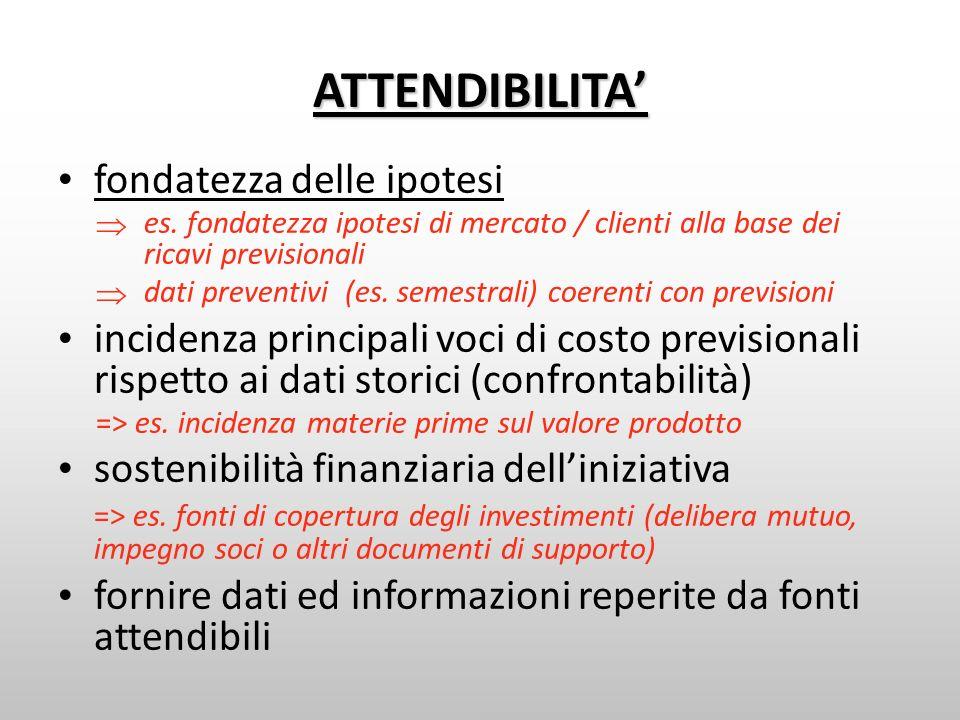 ATTENDIBILITA fondatezza delle ipotesi es. fondatezza ipotesi di mercato / clienti alla base dei ricavi previsionali dati preventivi (es. semestrali)