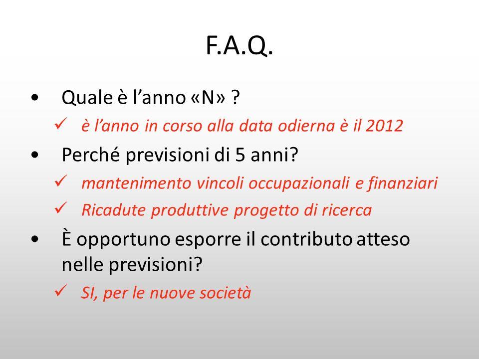 F.A.Q. Quale è lanno «N» ? è lanno in corso alla data odierna è il 2012 Perché previsioni di 5 anni? mantenimento vincoli occupazionali e finanziari R