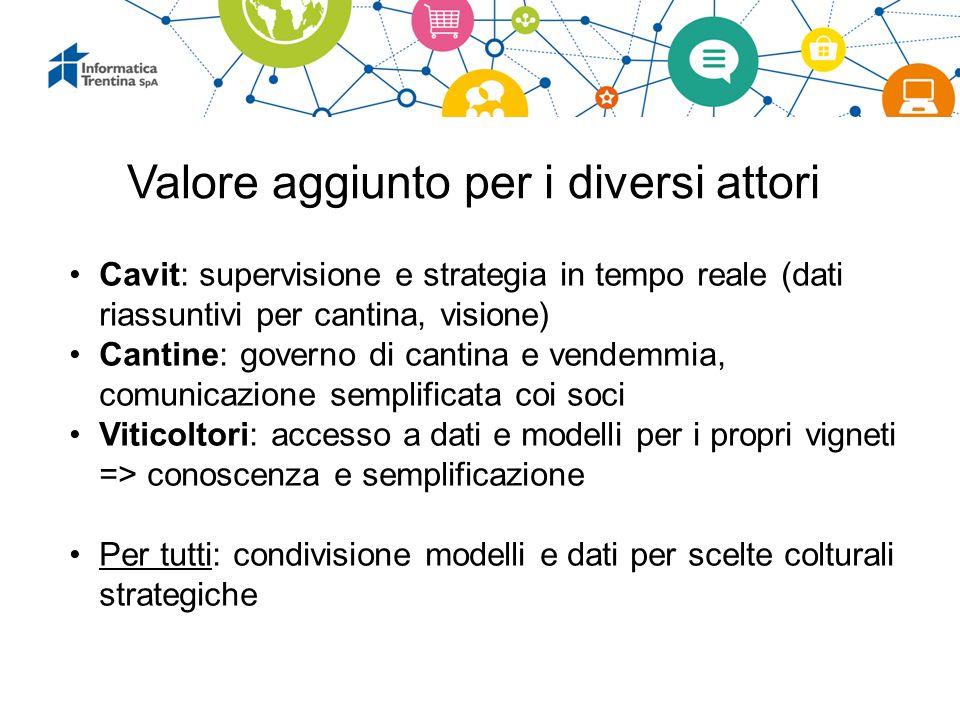 Valore aggiunto per i diversi attori Cavit: supervisione e strategia in tempo reale (dati riassuntivi per cantina, visione) Cantine: governo di cantin
