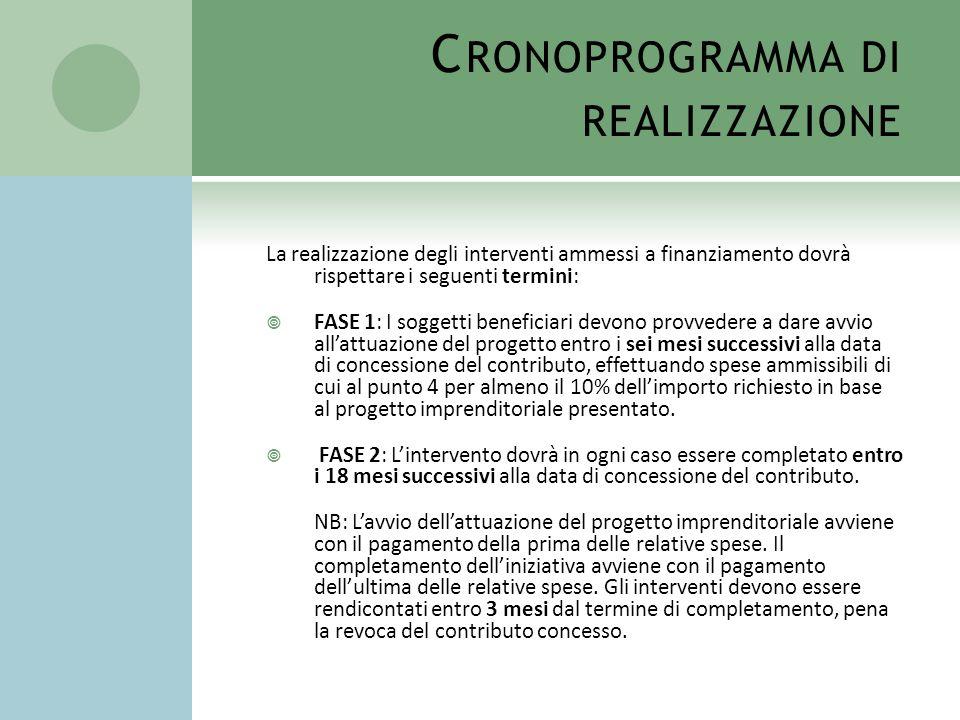 C RONOPROGRAMMA DI REALIZZAZIONE La realizzazione degli interventi ammessi a finanziamento dovrà rispettare i seguenti termini: FASE 1: I soggetti ben