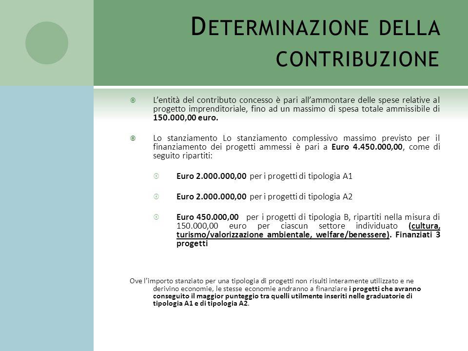 D ETERMINAZIONE DELLA CONTRIBUZIONE Lentità del contributo concesso è pari allammontare delle spese relative al progetto imprenditoriale, fino ad un m