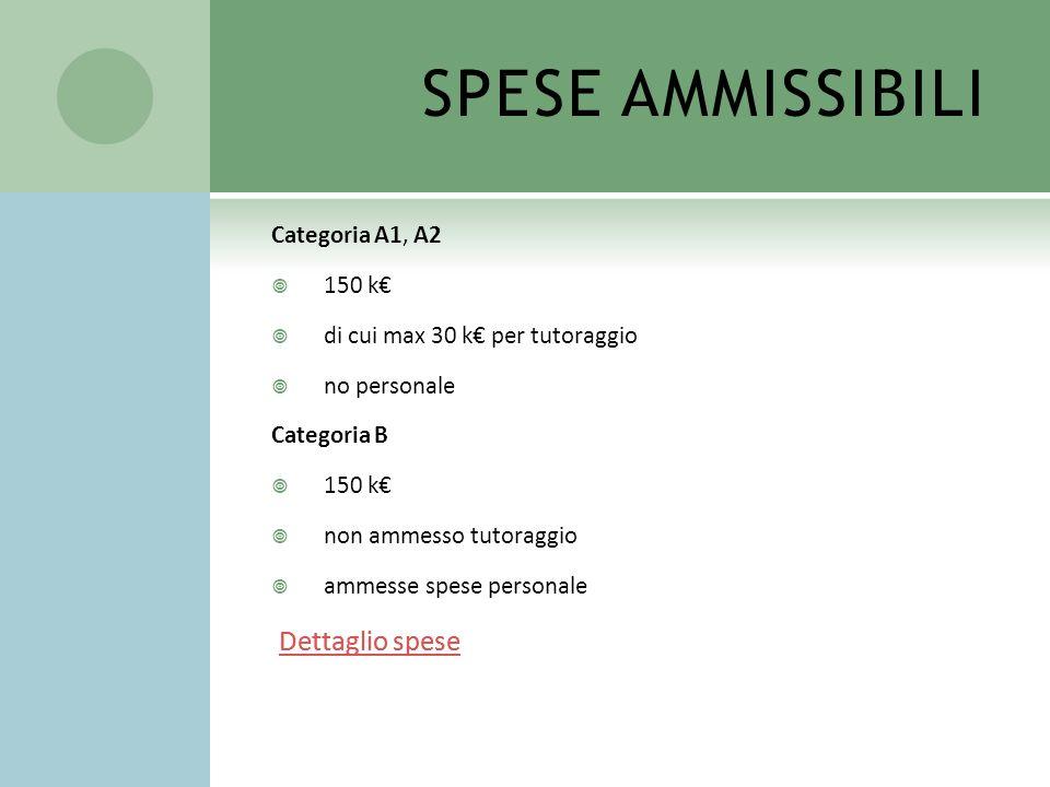 SPESE AMMISSIBILI Categoria A1, A2 150 k di cui max 30 k per tutoraggio no personale Categoria B 150 k non ammesso tutoraggio ammesse spese personale