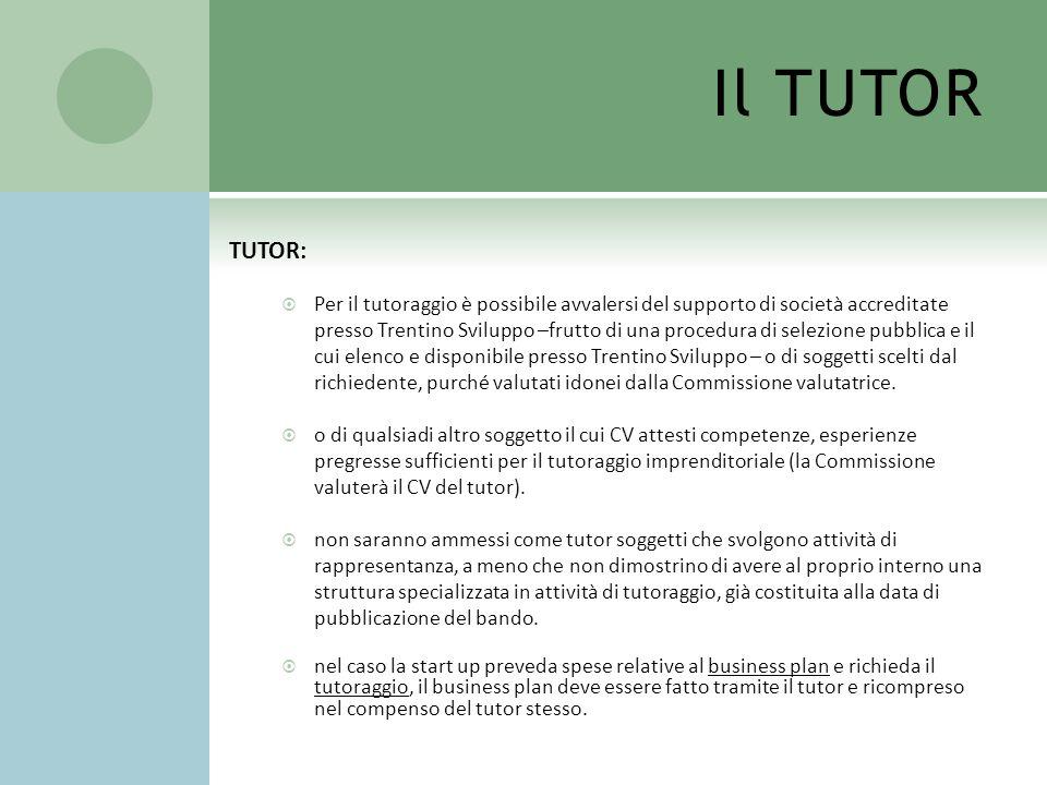 Il TUTOR TUTOR: Per il tutoraggio è possibile avvalersi del supporto di società accreditate presso Trentino Sviluppo –frutto di una procedura di selez