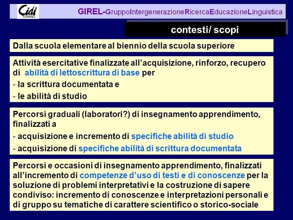 contesti/ scopi Percorsi graduali (laboratori?) di insegnamento apprendimento, finalizzati a - acquisizione e incremento di specifiche abilità di stud
