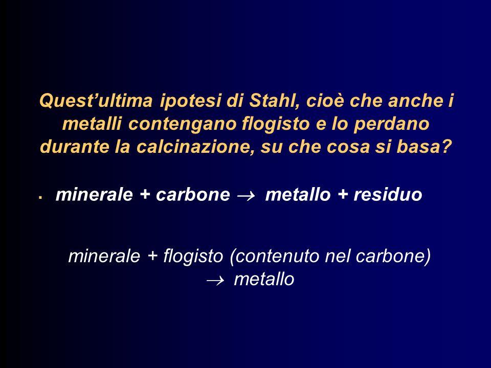 Questultima ipotesi di Stahl, cioè che anche i metalli contengano flogisto e lo perdano durante la calcinazione, su che cosa si basa?. minerale + carb