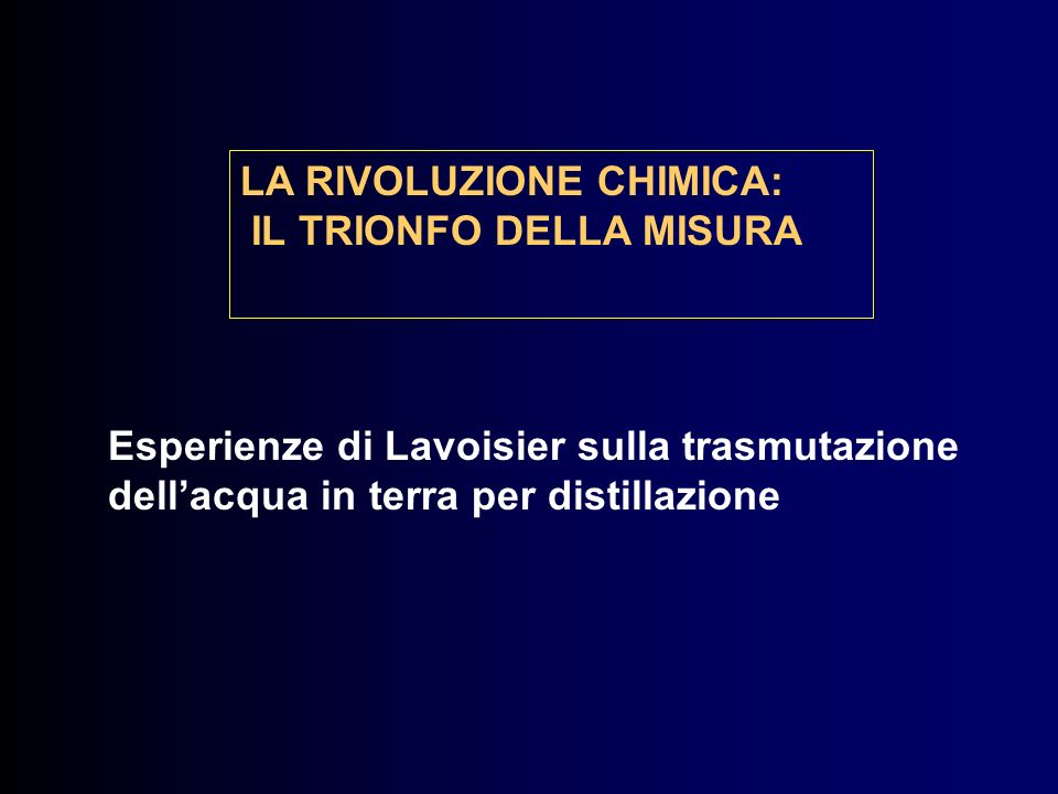 LA RIVOLUZIONE CHIMICA: IL TRIONFO DELLA MISURA Esperienze di Lavoisier sulla trasmutazione dellacqua in terra per distillazione