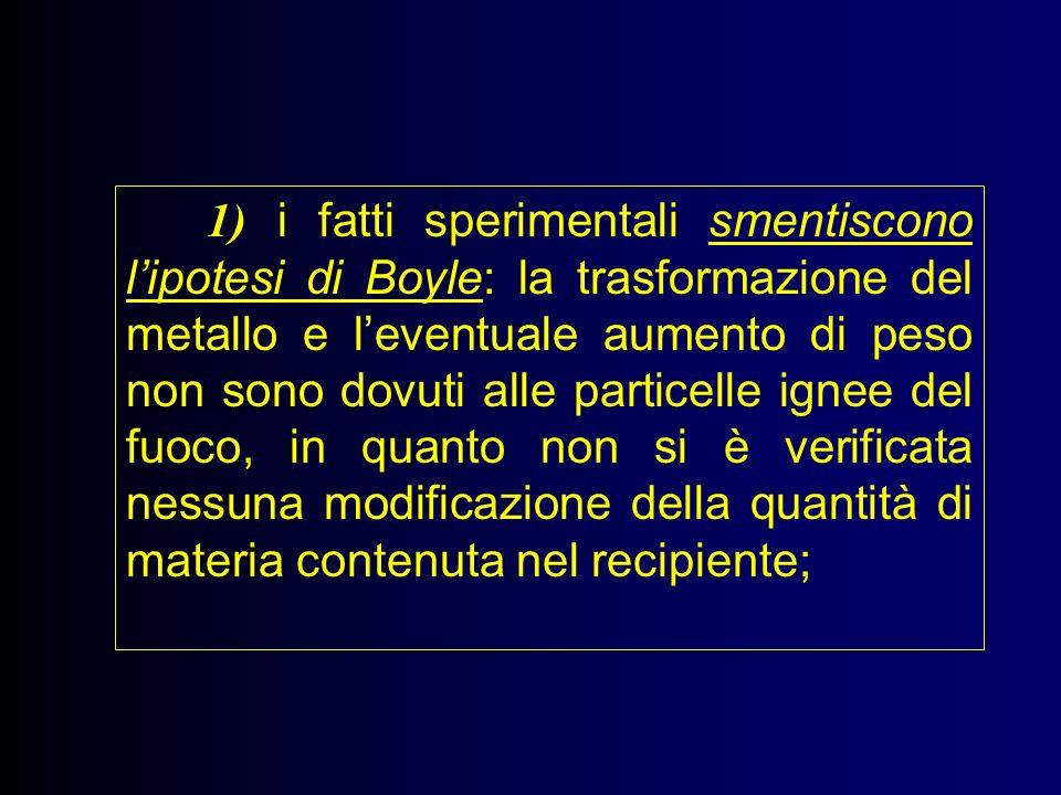 1) i fatti sperimentali smentiscono lipotesi di Boyle: la trasformazione del metallo e leventuale aumento di peso non sono dovuti alle particelle ignee del fuoco, in quanto non si è verificata nessuna modificazione della quantità di materia contenuta nel recipiente;