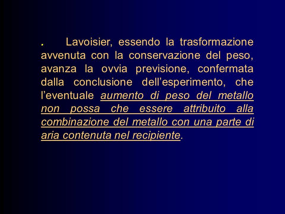 . Lavoisier, essendo la trasformazione avvenuta con la conservazione del peso, avanza la ovvia previsione, confermata dalla conclusione dellesperimento, che leventuale aumento di peso del metallo non possa che essere attribuito alla combinazione del metallo con una parte di aria contenuta nel recipiente.