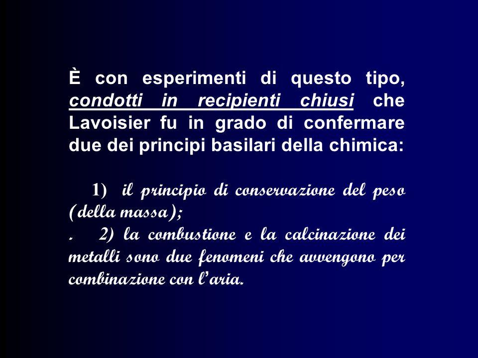 È con esperimenti di questo tipo, condotti in recipienti chiusi che Lavoisier fu in grado di confermare due dei principi basilari della chimica: 1) il principio di conservazione del peso (della massa);.