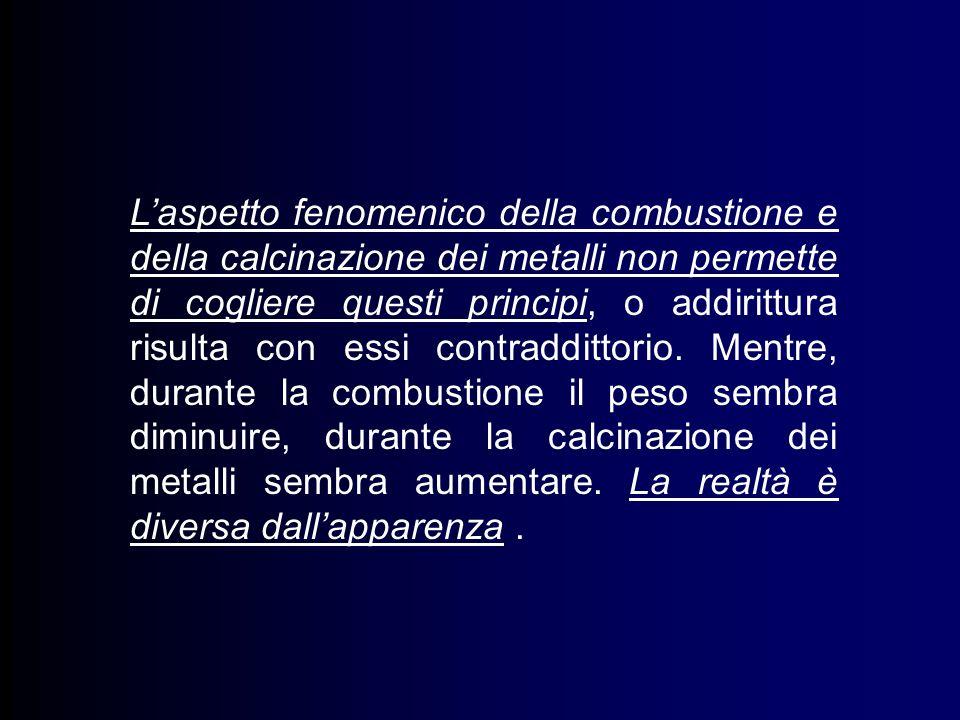 Laspetto fenomenico della combustione e della calcinazione dei metalli non permette di cogliere questi principi, o addirittura risulta con essi contraddittorio.