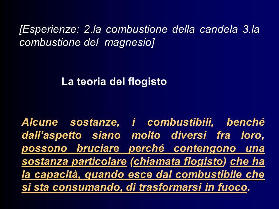 [Esperienze: 2.la combustione della candela 3.la combustione del magnesio] La teoria del flogisto Alcune sostanze, i combustibili, benché dallaspetto