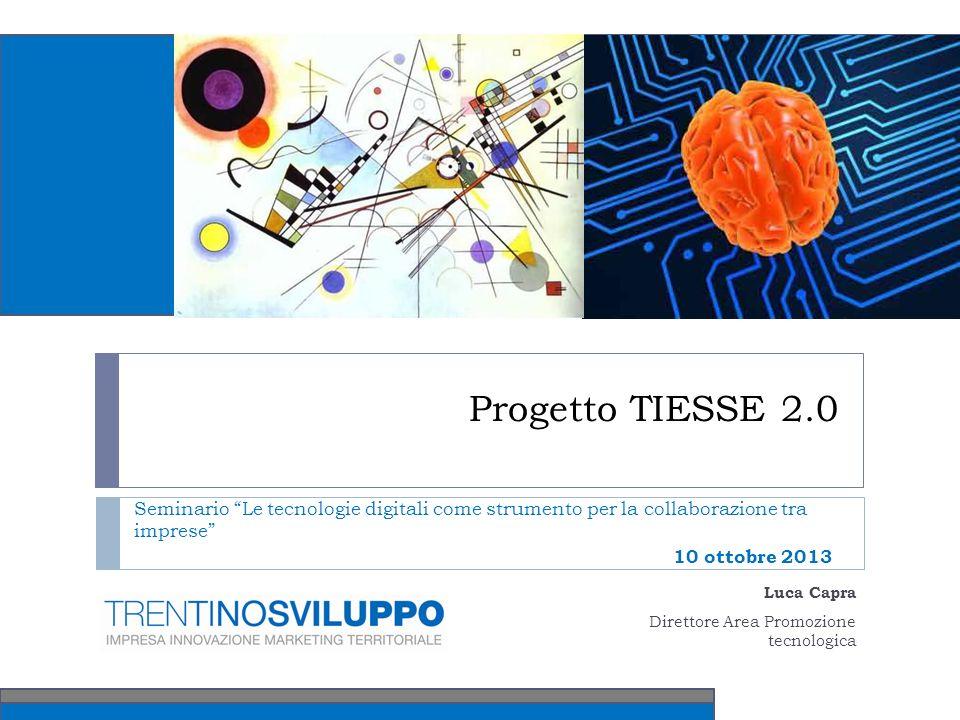 Progetto TIESSE 2.0 Seminario Le tecnologie digitali come strumento per la collaborazione tra imprese 10 ottobre 2013 Luca Capra Direttore Area Promozione tecnologica