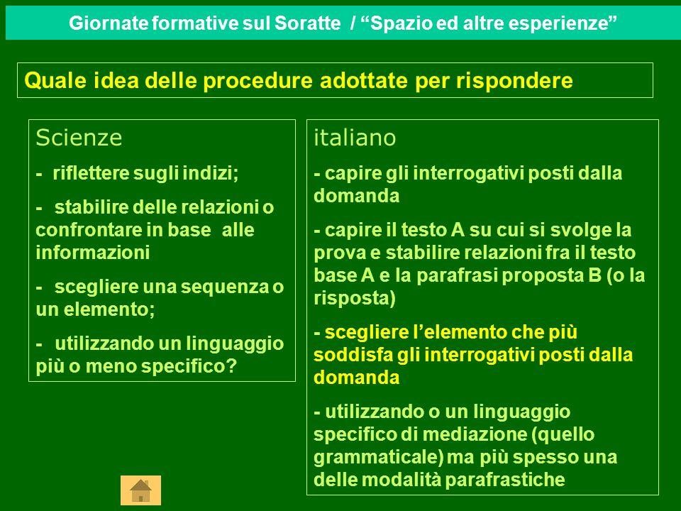 Quale idea delle procedure adottate per rispondere italiano - capire gli interrogativi posti dalla domanda - capire il testo A su cui si svolge la pro