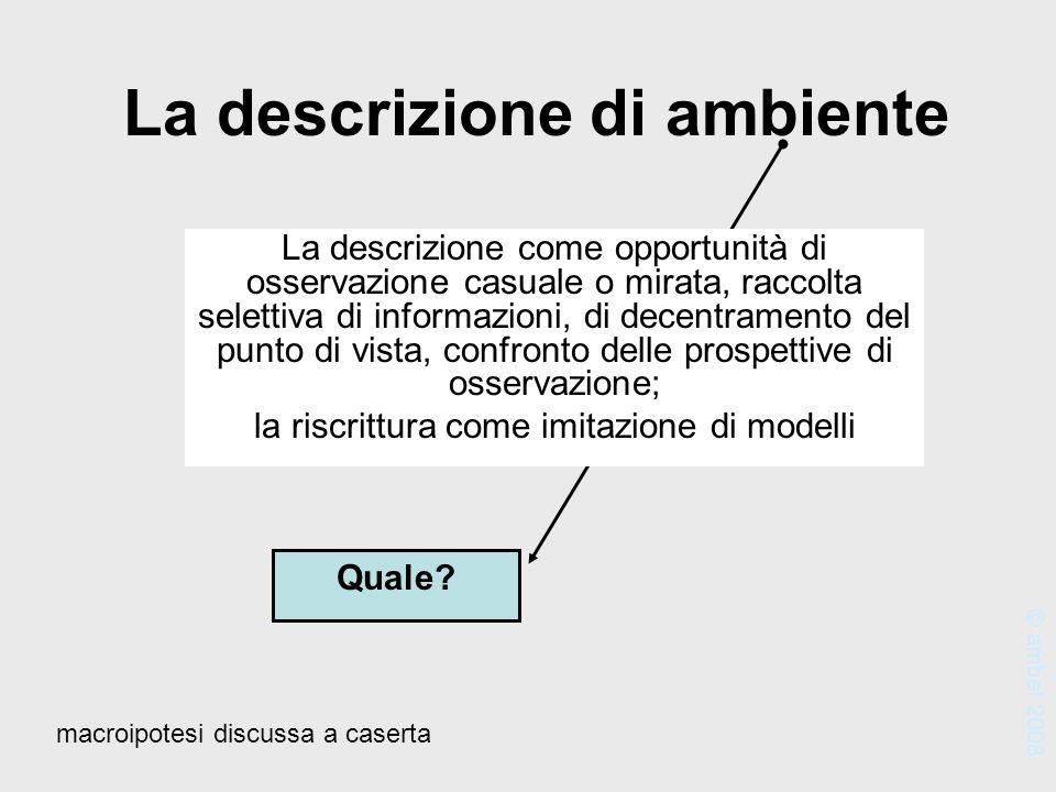 La descrizione di ambiente Quale? La descrizione come opportunità di osservazione casuale o mirata, raccolta selettiva di informazioni, di decentramen