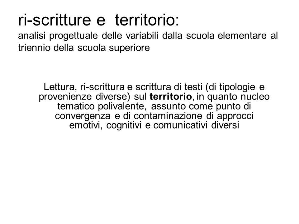 ri-scritture e territorio: analisi progettuale delle variabili dalla scuola elementare al triennio della scuola superiore Lettura, ri-scrittura e scri