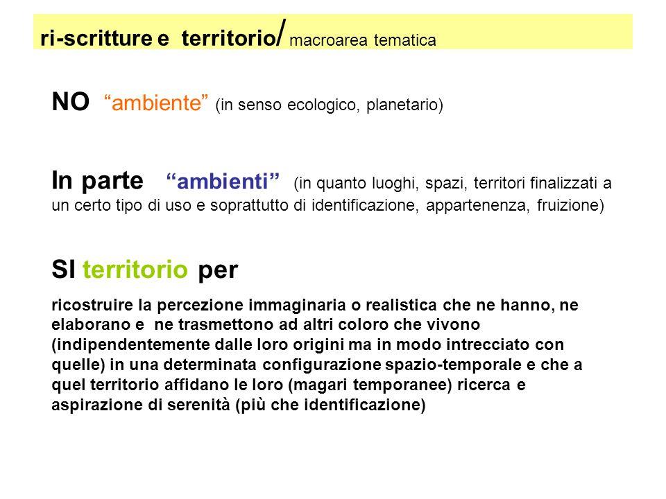 ri-scritture e territorio / macroarea tematica NO ambiente (in senso ecologico, planetario) In parte ambienti (in quanto luoghi, spazi, territori fina