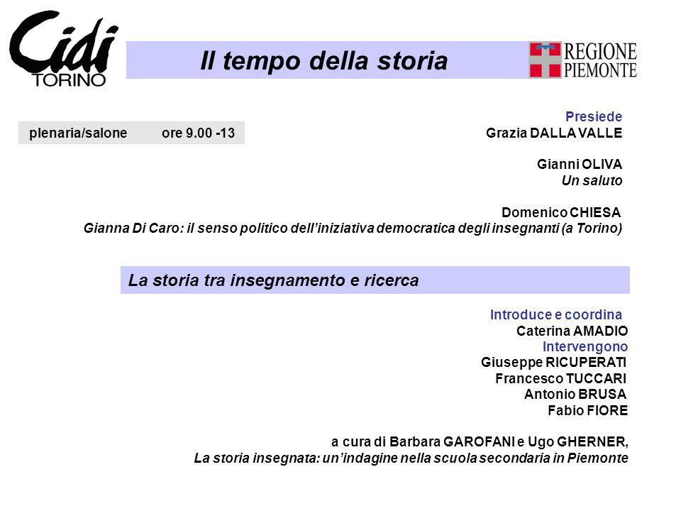 Il tempo della storia plenaria/salone ore 9.00 -13 Presiede Grazia DALLA VALLE Gianni OLIVA Un saluto Domenico CHIESA Gianna Di Caro: il senso politic