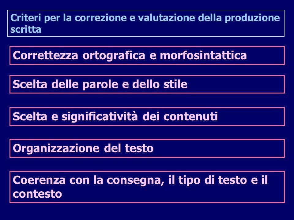 Criteri per la correzione e valutazione della produzione scritta Correttezza ortografica e morfosintattica Scelta delle parole e dello stile Scelta e