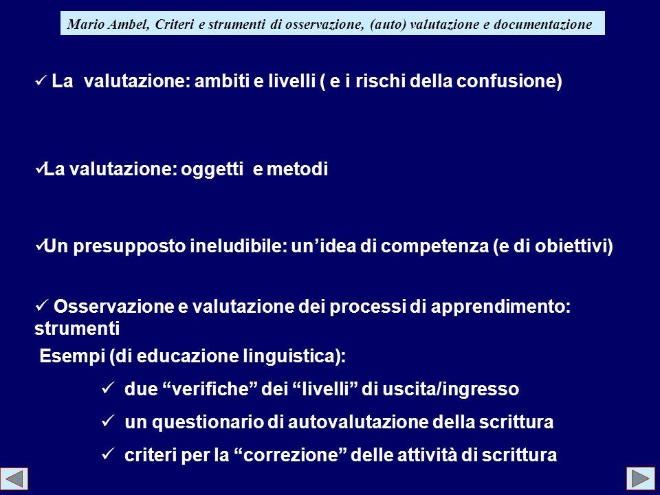 Mario Ambel, Criteri e strumenti di osservazione, (auto) valutazione e documentazione La valutazione: ambiti e livelli ( e i rischi della confusione)