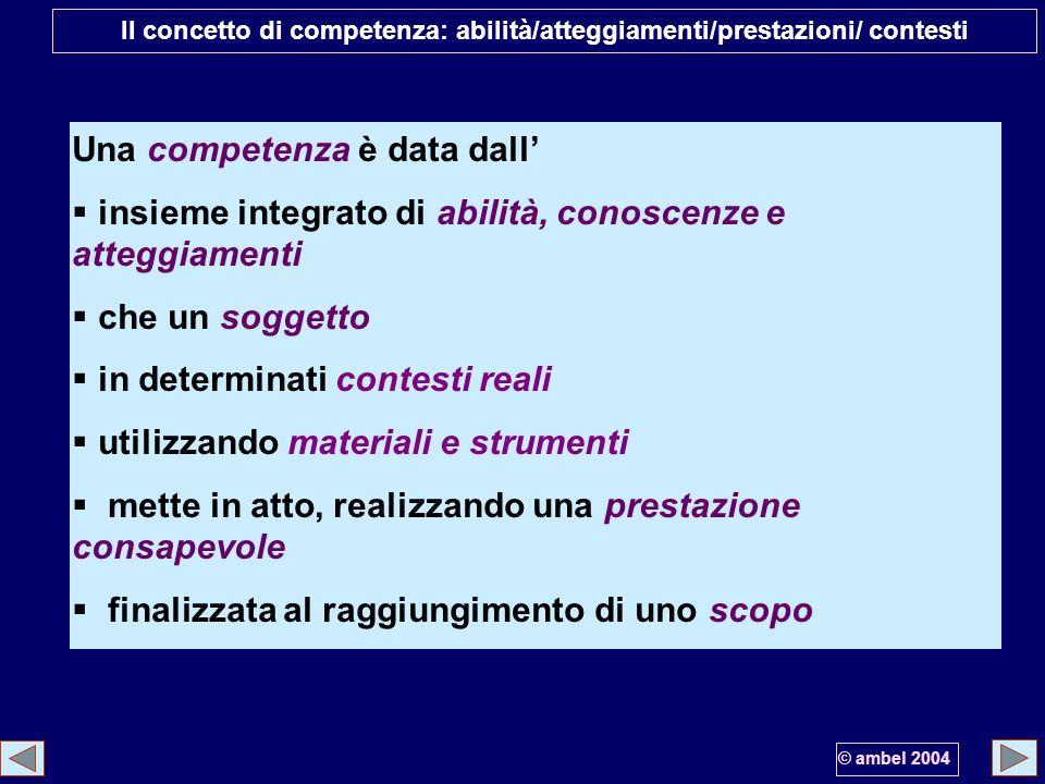 Il concetto di competenza: abilità/atteggiamenti/prestazioni/ contesti Una competenza è data dall insieme integrato di abilità, conoscenze e atteggiam