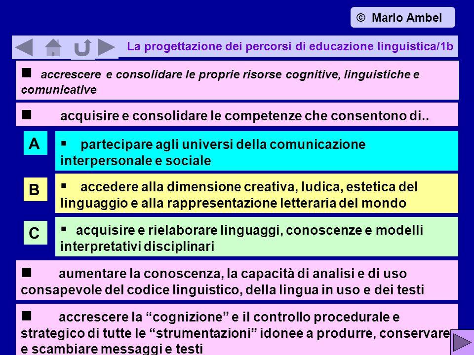 La progettazione dei percorsi di educazione linguistica/1b accrescere e consolidare le proprie risorse cognitive, linguistiche e comunicative acquisire e consolidare le competenze che consentono di..