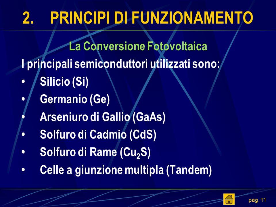 pag. 11 2.PRINCIPI DI FUNZIONAMENTO La Conversione Fotovoltaica I principali semiconduttori utilizzati sono: Silicio (Si) Germanio (Ge) Arseniuro di G