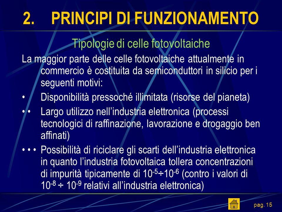 pag. 15 2.PRINCIPI DI FUNZIONAMENTO Tipologie di celle fotovoltaiche La maggior parte delle celle fotovoltaiche attualmente in commercio è costituita