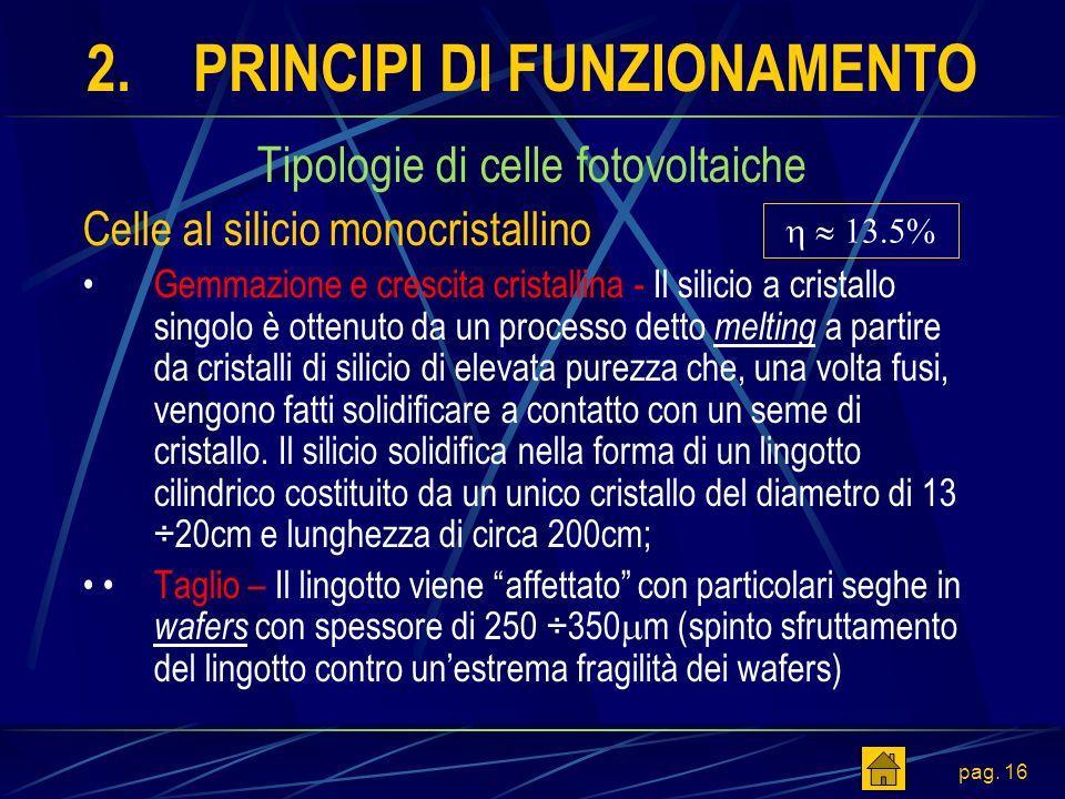 pag. 16 2.PRINCIPI DI FUNZIONAMENTO Tipologie di celle fotovoltaiche Celle al silicio monocristallino Gemmazione e crescita cristallina - Il silicio a