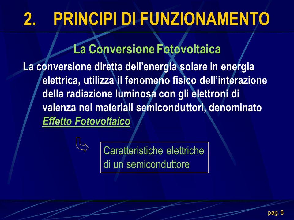 pag. 5 2.PRINCIPI DI FUNZIONAMENTO La Conversione Fotovoltaica La conversione diretta dellenergia solare in energia elettrica, utilizza il fenomeno fi