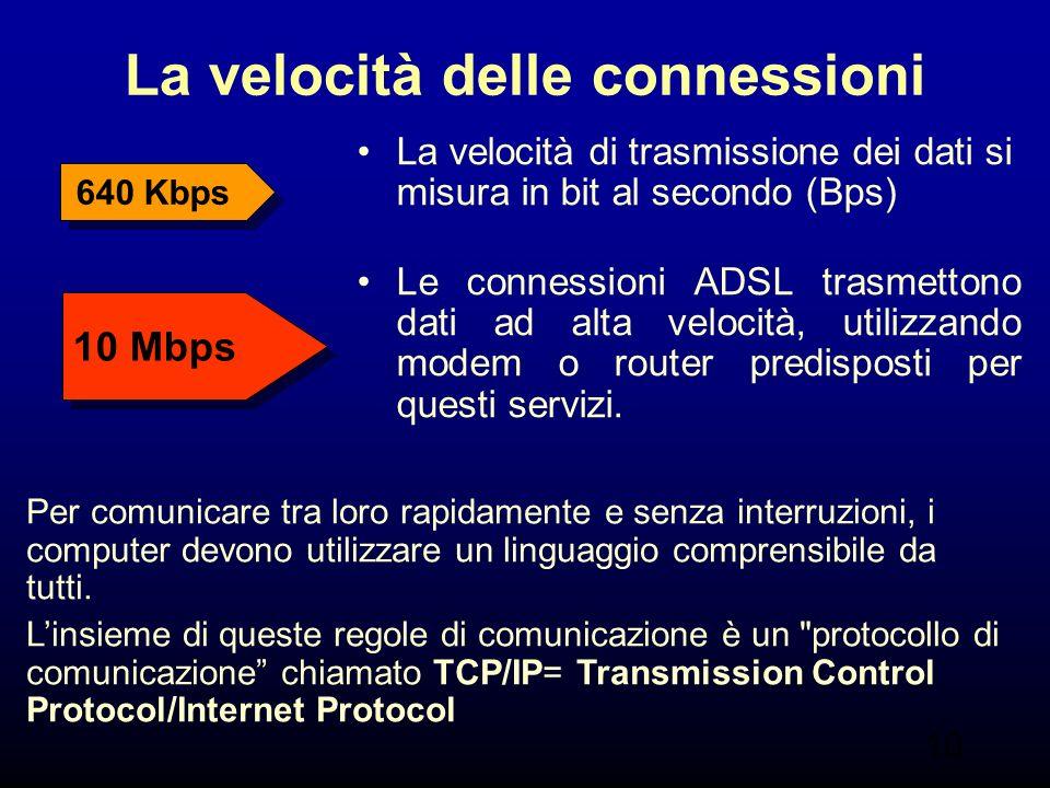 10 La velocità delle connessioni La velocità di trasmissione dei dati si misura in bit al secondo (Bps) Le connessioni ADSL trasmettono dati ad alta velocità, utilizzando modem o router predisposti per questi servizi.