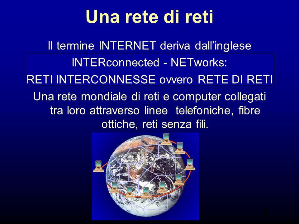 2 Una rete di reti Il termine INTERNET deriva dallinglese INTERconnected - NETworks: RETI INTERCONNESSE ovvero RETE DI RETI Una rete mondiale di reti e computer collegati tra loro attraverso linee telefoniche, fibre ottiche, reti senza fili.