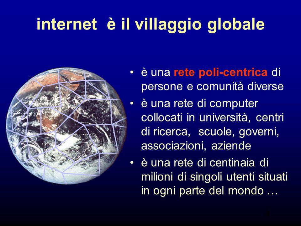 4 internet è il villaggio globale è una rete poli-centrica di persone e comunità diverse è una rete di computer collocati in università, centri di ricerca, scuole, governi, associazioni, aziende è una rete di centinaia di milioni di singoli utenti situati in ogni parte del mondo …