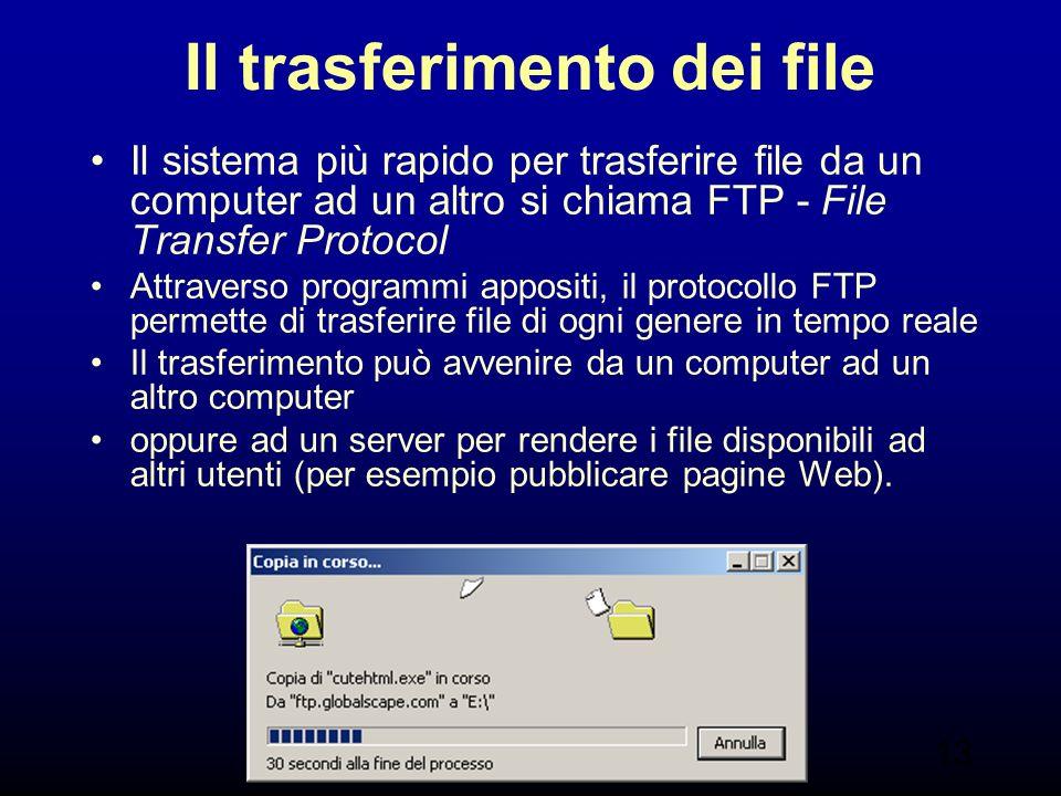 13 Il trasferimento dei file Il sistema più rapido per trasferire file da un computer ad un altro si chiama FTP - File Transfer Protocol Attraverso programmi appositi, il protocollo FTP permette di trasferire file di ogni genere in tempo reale Il trasferimento può avvenire da un computer ad un altro computer oppure ad un server per rendere i file disponibili ad altri utenti (per esempio pubblicare pagine Web).