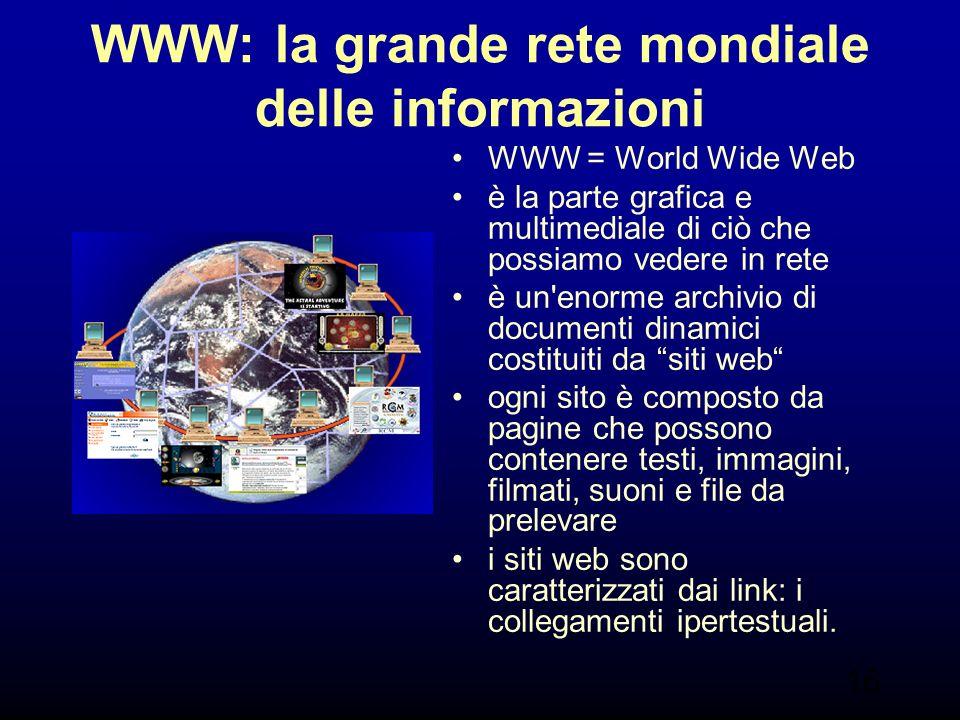 16 WWW: la grande rete mondiale delle informazioni WWW = World Wide Web è la parte grafica e multimediale di ciò che possiamo vedere in rete è un enorme archivio di documenti dinamici costituiti da siti web ogni sito è composto da pagine che possono contenere testi, immagini, filmati, suoni e file da prelevare i siti web sono caratterizzati dai link: i collegamenti ipertestuali.