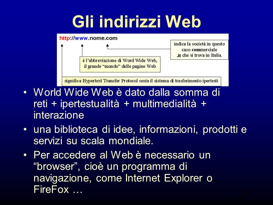 21 Gli indirizzi Web World Wide Web è dato dalla somma di reti + ipertestualità + multimedialità + interazione una biblioteca di idee, informazioni, prodotti e servizi su scala mondiale.