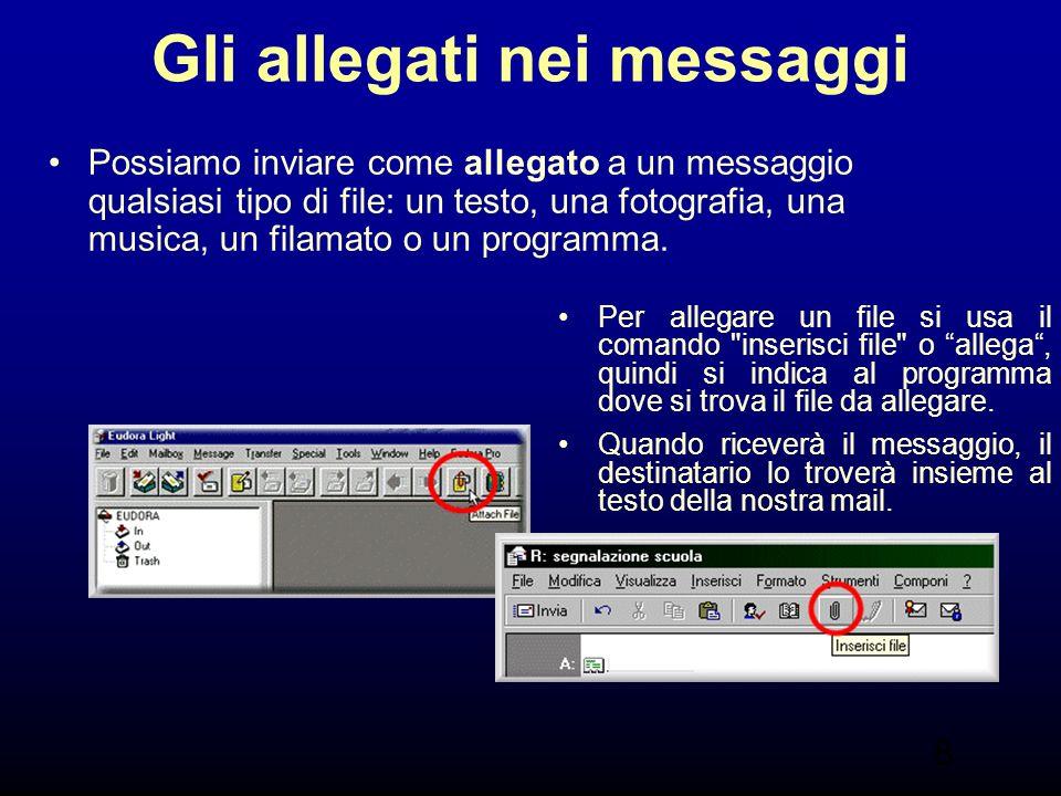 8 Gli allegati nei messaggi Possiamo inviare come allegato a un messaggio qualsiasi tipo di file: un testo, una fotografia, una musica, un filamato o un programma.